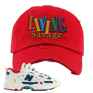 Aime Leon Dore X New Balance 827 Abzorb Multicolor 'White' Distressed Dad Hat | Red, Living Savage
