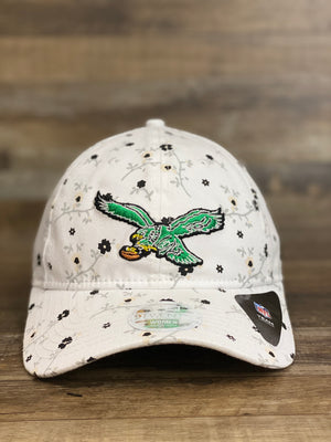 Front of Throwback Philadelphia eagles female floral dad hat  blossom spring flower print 920 DAD HAT | New era female dad hat