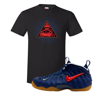 Air Foamposite Pro USA T Shirt | Black, All Seeing Eye
