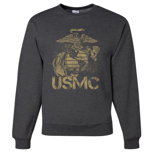 Standard Issue Distressed USMC Gray Grunt Life Crewneck Sweater