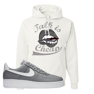 Air Force 1 Low Wolf Grey White Hoodie | White, Talk is Cheap