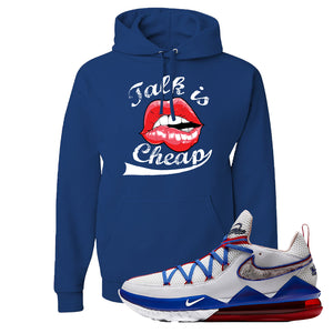 LeBron 17 Low Tune Squad Sneaker Royal Blue Pullover Hoodie | Hoodie to match Nike LeBron 17 Low Tune Squad Shoes | Talk Is Cheap