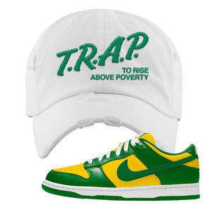 SB Dunk Low Brazil  Distressed Dad Hat | White, Trap To Rise Above Poverty