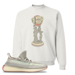 Yeezy Boost 350 V2 Citrin Non-Reflective The World Is Yours Statue White Sneaker Matching Crewneck Sweatshirt