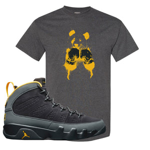 Air Jordan 9 Charcoal University Gold T Shirt | Boxing Panda, Smoke Grey