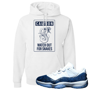 Jordan 11 Low Blue Snakeskin Caution of Snake White Hoodie