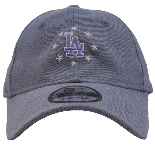 Embroidered on the front of the los angeles dodgers denim usa pride dad hat has the los angeles dodgers logo in blue and white