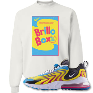 Brillo Box White Crewneck Sweatshirt to match Air Max 270 React ENG Laser Blue Sneakers