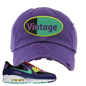 Air Max 90 Cheetah Distressed Dad Hat | Vintage Oval, Purple