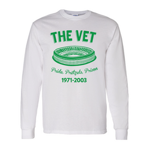 The Vet Pride, Pretzels, Prison Long Sleeve T-Shirt | Veterans Stadium White Longsleeve Tee Shirt the front of this long sleeve has the vet stadium