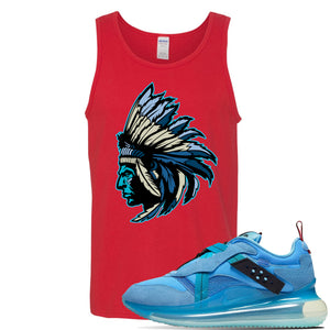Air Max 720 OBJ Slip Light Blue Tank Top | Red, Indian Chief