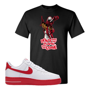 Air Force 1 Low Red Bottoms T Shirt | Black, Don't Hate The Playa