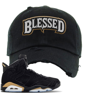 Jordan 6 DMP 2020 Sneaker Black Distressed Dad Hat | Hat to match Nike Air Jordan 6 DMP 2020 Shoes | Blessed Arch
