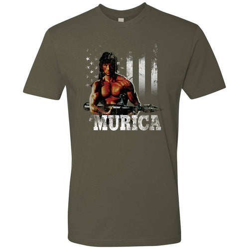 Standard Issue Distressed Rambo with American Flag Military Green Grunt Life T-Shirt