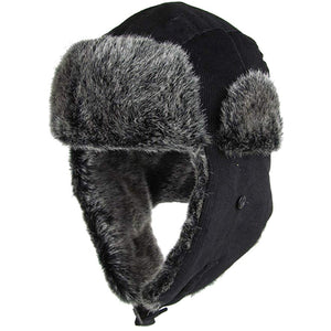 the black corduroy vegan fur trapper hat has a black corduroy exterior and a gray faux fur interior