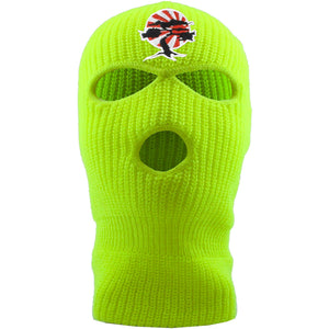 Embroidered on the front of the Foot Clan Bonsai Tree safety yellow ski mask is the Foot Clan Bonsai Tree Rising Sun logo  frozen yellow 350 yeezy | jackboys mask