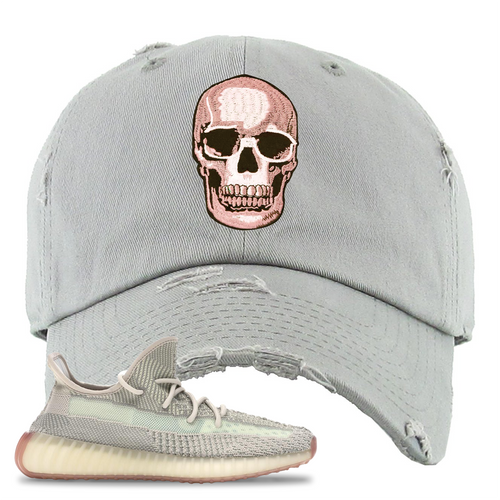 Yeezy Boost 350 V2 Citrin Non-Reflective Skull Light Gray Sneaker Matching Distressed Dad Hat