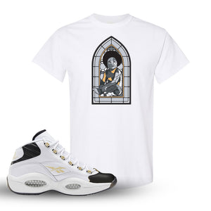 Reebok Question Mid Black Toe T Shirt | White, Baby Mosaic