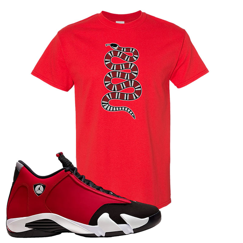 Air Jordan 14 Gym Red T Shirt | Red, Coiled Snake