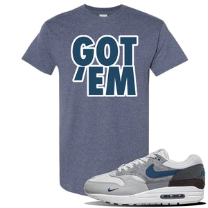 Air Max 1 'London City Pack' Sneaker Heather Navy T Shirt | Tees to match Nike Air Max 1 'London City Pack' Shoes | Got Em