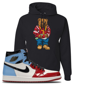 Air Jordan 1 Fearless Sweater Bear Black Made to Match Pullover Hoodie