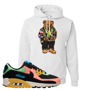 Furry Air Max 90 Bright Neon Pullover Hoodie | Sweater Bear, White