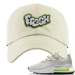 Air Max 270 React Ghost Green Sneaker Stone Ivory Distressed Dad Hat | Hat to match Nike Air Max 270 React Ghost Green Shoes | Fresh