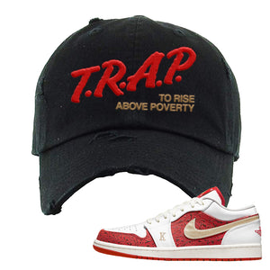 Air Jordan 1 Low Spades Distressed Dad Hat | Trap To Rise Above Poverty, Black