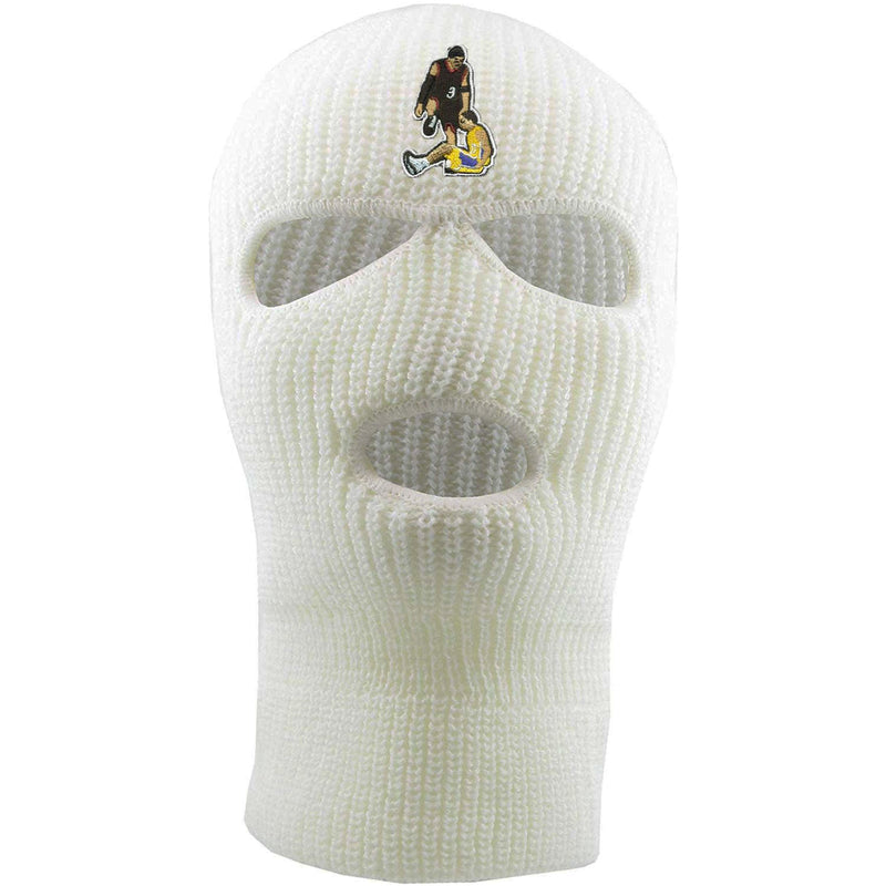Embroidered on the forehead of the allen iverson step over white ski mask is the allen iverson step over logo