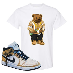 Air Jordan 1 Mid SE Metallic Gold T Shirt | Sweater Bear, White