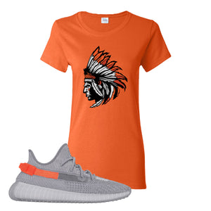 Yeezy Boost 350 V2 Tail Light Sneaker Orange Women's T Shirt | Women's Tees to match Adidas Yeezy Boost 350 V2 Tail Light Shoes | Indian Chief