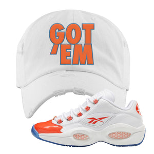 Question Low Vivid Orange Distressed Dad Hat | Got Em, White