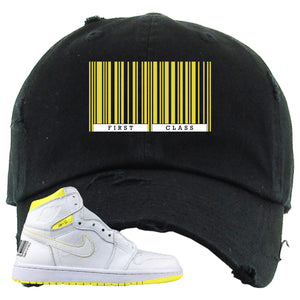 Air Jordan 1 First Class Flight First Class Barcode Black Sneaker Matching Distressed Dad Hat