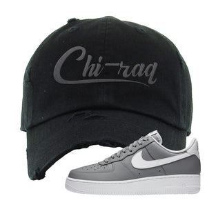 Air Force 1 Low Wolf Grey White Distressed Dad Hat | Black, Chiraq