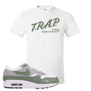 Air Max 1 Spiral Sage T-Shirt | Trap To Rise Above Poverty, White