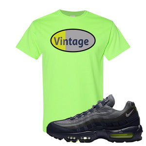 Air Max 95 Midnight Navy / Volt T Shirt | Neon Green, Vintage Oval