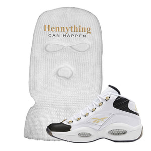 Question Mid Black Toe Sneaker White Ski Mask | Winter Mask to match Reebok Question Mid Black Toe Shoes | Hennything Can Happen