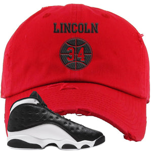 Jordan 13 Reverse He Got Game Distressed Dad Hat | Red, Lincoln 34