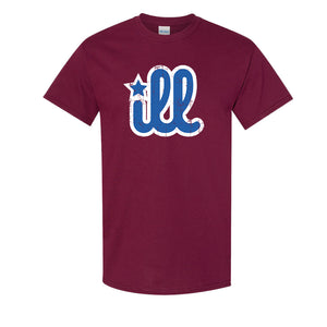 ILL Logo T-Shirt | ILL Logo Maroon T-Shirt the front of this shirt has the blue and white ill design on it