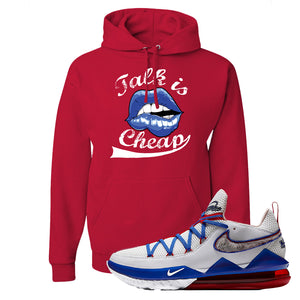 LeBron 17 Low Tune Squad Sneaker True Red Pullover Hoodie | Hoodie to match Nike LeBron 17 Low Tune Squad Shoes | Talk Is Cheap