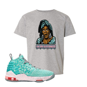 Lebron 17 South Beach Kids T-Shirt | Oh My Goodness, Sport Grey