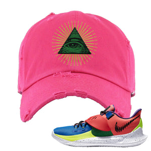 Kyrie Low 3 NY vs NY Distressed Dad Hat | All Seeing Eye, Pink