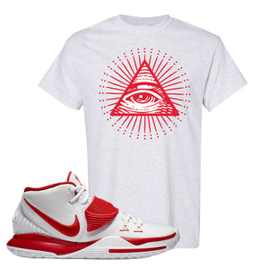 Kyrie 6 White University Red T Shirt | All Seeing Eye, Ash