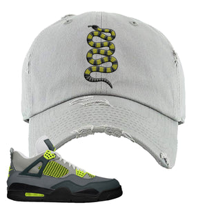 Jordan 4 Neon Distressed Dad Hat | Light Gray, Coiled Snake
