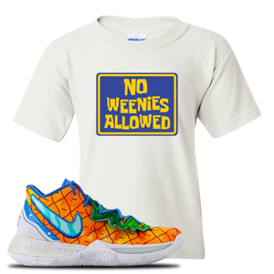 Kyrie 5 Pineapple House Kid's T-Shirt | White, No Weenies Allowed