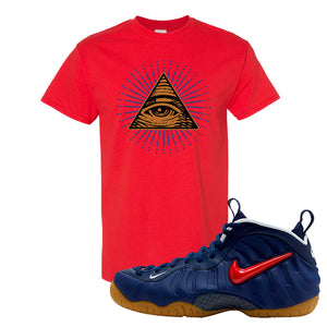 Air Foamposite Pro USA T Shirt | Red, All Seeing Eye