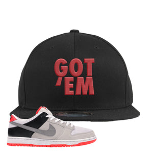 Nike SB Dunk Low Infrared Orange Label Got Em Black Snapback Hat To Match Sneakers