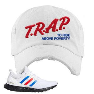 Ultra Boost White Red Blue Distressed Dad Hat | White, Trap To Rise Above Poverty