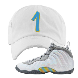 Lil Posite One Rainbow Pixel Distressed Dad Hat | White, Penny One
