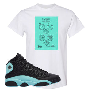 Diamond Patent White T-Shirt To Match Jordan 13 Island Green Sneakers